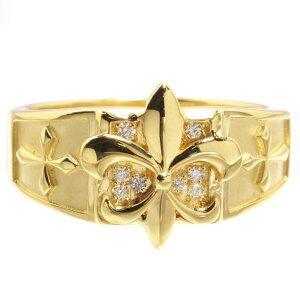【5%OFFクーポン】指輪 メンズリング 18金 K18 18K ゴールド ダイヤモンド 百合の紋章 男性用 日本製 刻印入り 鑑別書付き ごつい 太め 大きいサイズ 作製可能