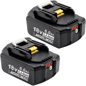 マキタ 互換バッテリー 18v BL1860b 互換バッテリー 18V 6.0Ah 残量表示付(red) 2個セット power