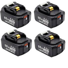 マキタ 互換バッテリー 18v BL1860b 互換バッテリー 18V 6.0Ah 残量表示付(red) 4個セット power