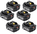 マキタ バッテリー 18v BL1860b 互換バッテリー 18V 6.0Ah 残量表示付(red) 6個セット power