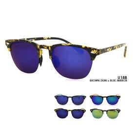 偏光 サーモント ミラー サングラス U18 ブロー UVカット メンズ レディース