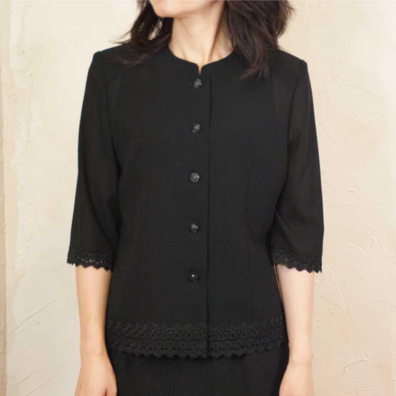 サマーブラックフォーマル夏用裾レースブラウス 日本製 8160単品