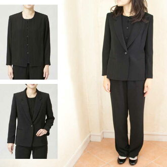 All seasons 2127 made in three points of tailored collar set trouser suit black formal Japan