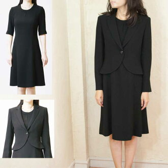All seasons 3048 made in tailored collar ensemble black formal one piece Japan