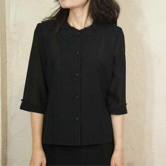 서머 블랙 포멀옷깃 레이스 블라우스 단품 여름용 일본제 8022