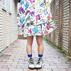 Fashion skirt flared skirt knee length knee-length Lady's flamboyance cute individuality group individual dance clothes hip-hop girls colorful monster white white ACDCRAG of monster flared skirt Harajuku origin