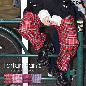 タータンチェックパジャマパンツ   パンク ロック ファッション V系 病みかわいい 原宿系 パンツ ワイドパンツ ロング メンズ レディース 派手カワ 個性的 かわいい チェック ダンス 衣装 ヒップホップ ウエストゴム 赤 ピンク ACDC RAG [メール便可]