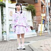 Fashion skirt pastel color pastel lady's showy individuality group individual cute colorful purple pink of hedgehog flared skirt Harajuku origin
