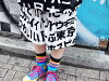 Fashion Lady's men wide underwear baggy pants kanji katakana hiragana letter Japanese sum pattern setup punk rock V system flamboyance pretty flamboyance kava individual dance clothes hip-hop ACDC RAG of ハラジュクハーフパンツ Harajuku origin which suffers from dis