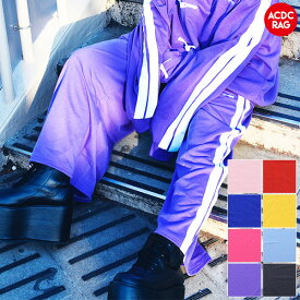 LINEワイドパンツ | 原宿 原宿系 韓国 ファッション レディース メンズ パンツ ワイドパンツ ジャージ サイドライン パンク ロック V系 かわいい 派手カワ カラフル ダンス 衣装 ヒップホップ ガールズ ダンス衣装 個性的 刺繍 ロゴ ACDC RAG