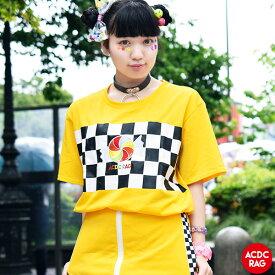 POPキャンディ チェックT Tシャツ 原宿系 韓国 ファッション レディース メンズ 刺繍 派手 かわいい 派手カワ ストリート カラフル 大きいサイズ ダンス 衣装 ヒップホップ ガールズ 個性的 ACDC RAG [メール便可]