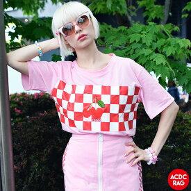 チェリー チェックT Tシャツ 原宿系 韓国 ファッション レディース メンズ 刺繍 派手 かわいい 派手カワ ストリート カラフル 大きいサイズ ダンス 衣装 ヒップホップ ガールズ 個性的 ピンク ACDC RAG [メール便可]