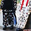 【全品50%OFF】カブキワイドパンツ | 和柄 漢字 日本語 カタカナ パンク ロック ファッション V系 病みかわいい 病み 原宿 原宿系 パンツ ワイドパンツ ロング メンズ レディース 派手カワ 個性的 かわいい ダンス 衣装 ヒップホップ ウエストゴム ACDC RAG