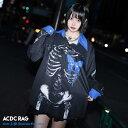 タレバタフライ シャツ 長袖 パンク ロック V系 ファッション バンギャ 原宿系 原宿 韓国 ブルー 病み 病みかわいい …