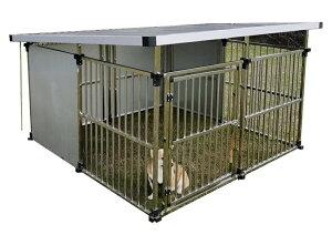 ドッグハウス ステンレス製マルチ犬舎 DFS-M2(1坪タイプ)【個人宅への配達になります。】【代金引換不可】   【スチール 大型犬 犬小屋】