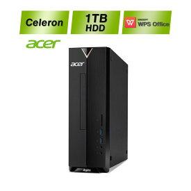 【幅わずか10cmのスリムボディパソコン】Acer(エイサー) 新品デスクトップ メモリ8GB 1TB HDD Celeron J4005 WPS Office 体験版 ドライブ有 Windows10 XC-830-N18F 無線LAN ブラック 中古や一体型より安い