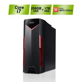 【パワフルな性能でストレスフリーなゲーム体験を!】ゲーミングデスクトップ N50-600-N78V/G66TA Core i7 メモリ8GB 256GB SSD+1TB HDDストレージ GeForce GTX 1660Ti Windows10 WPS Office Acer(エイサー) パソコン ドライブ有 新品PC