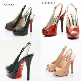 COMEX コメックス パンプス バックベルトオープントゥパンプス 厚底 comex5412 送料無料 日本製 本革 ハイヒール レディース