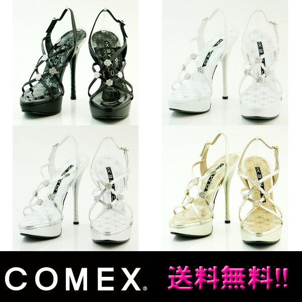 COMEX コメックス サンダル フラワーモチーフラインストーンバックストラップサンダル ミュール comex5343 送料無料 日本製 本革 ハイヒール レディース