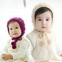 帽子 ベビー ボンネット ニット帽 ポンポン あごヒモ付き 可愛い 防寒 暖かい 記念撮影 出産祝い 赤ちゃん khb-075