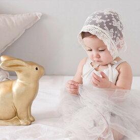 ベビー レース 帽子 ボンネット 新生児 リボン 刺繍 オフホワイト 可愛い khb-068