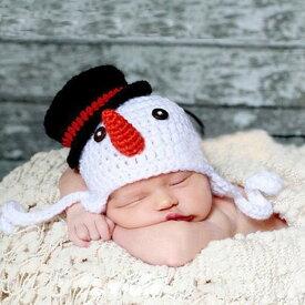 ベビー コスチューム 着ぐるみ ニューボーンフォト 帽子 スノーマン 赤ちゃん ゆきだるま 毛糸 記念撮影 寝相アート bcos-017