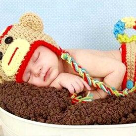 ベビー コスチューム 着ぐるみ ニューボーンフォト 帽子 サル さる モンキー コスプレ ハロウィン 記念撮影 寝相アート bcos-025