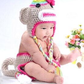 ベビー コスチューム 着ぐるみ ニューボーンフォト 帽子 サル さる モンキー 女の子 ピンク コスプレ ハロウィン 記念撮影 寝相アート bcos-026