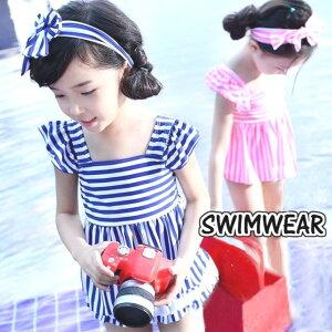 水着 キッズ 女の子 セパレート ワンピース 3点セット セット ボーダー リボン かわいい 90 100 110 120 子供 夏 プール 海 ビーチ swb-015