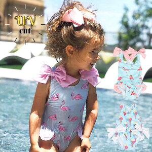 ベビー 水着 女の子 キッズ ワンピース フラミンゴ かわいい リボン ピンク ブルー フリフリ ベビー水着 80 90 100 110 120 子供 帽子付き swb-029