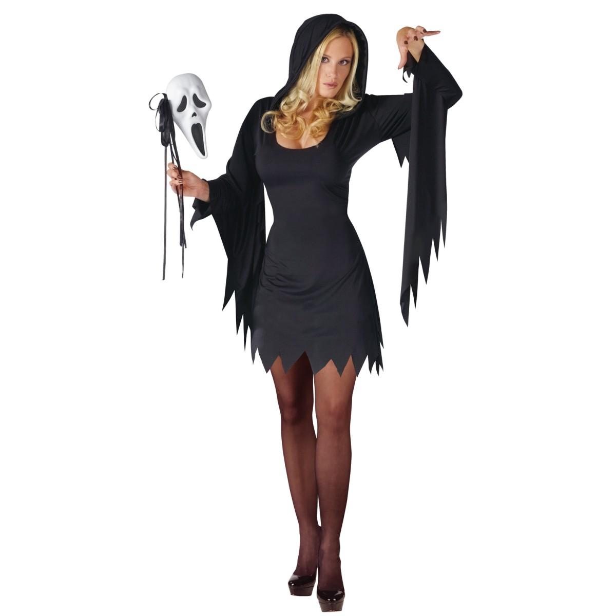 在庫処分市 ハロウィン スクリーム お化け コスプレ 衣装 大人 女性用 レディース コスチューム セクシー ワンピース 黒 ブラック あす楽