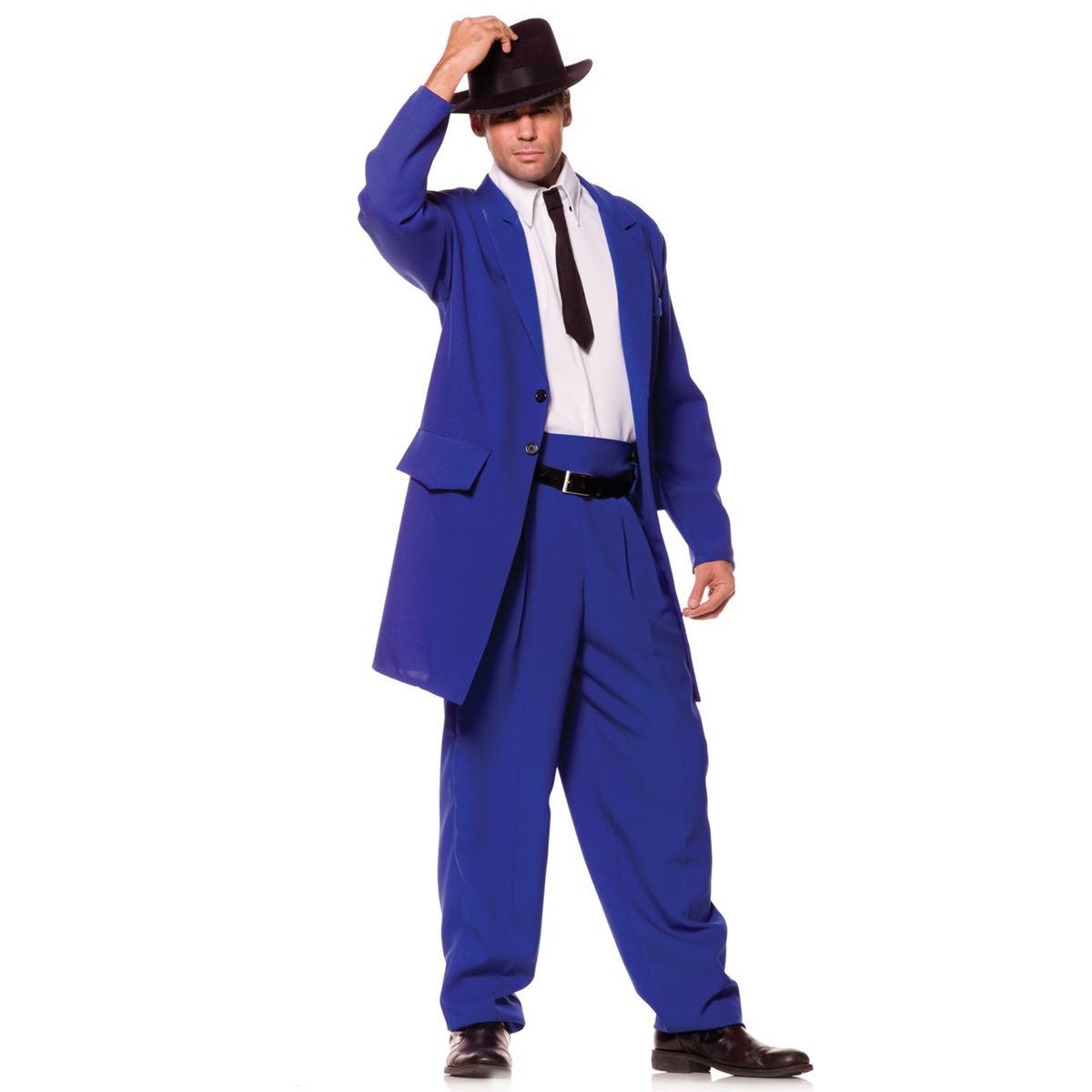 ギャング マフィア ズートスーツ ハロウィン 衣装 コスチュームズートスーツ ブルー 大人用コスチューム あす楽
