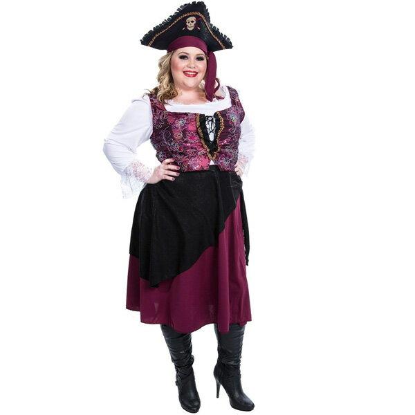 海賊 パイレーツ バーガンディの海賊の娘 大人用 プラスサイズ 女性用 コスチューム ハロウィン コスプレ コスチューム・衣装 あす楽