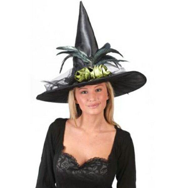 ファンシー フェザー 黒 魔女 魔法使いの帽子 ハロウィン パーティー イベント 優雅 恐怖 ホラー 帽子 魔女 魔法使い ウィッチ あす楽