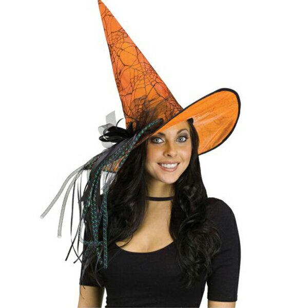 在庫処分市 魔女 魔法使いの帽子 オレンジ デラックス きらめき ウィッチ ハット 大人用 ハロウィン パーティー イベント 楽しい 恐怖 ホラー 魔女 魔法使い 帽子 ウィッチ あす楽