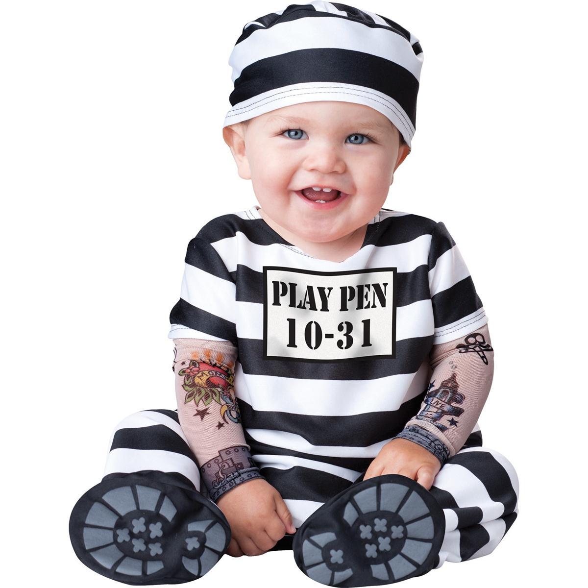 囚人 受刑者 赤ちゃん 着ぐるみ ハロウィン コスプレ コスチューム 幼児 子供 仮装 白黒 ボーダー 服 あす楽