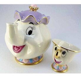 ディズニー 美女と野獣 雑貨 グッズ 食器 ポット夫人 チップ ティーポット 紅茶 カップ コップ セット セラミック陶器 インテリア 置き物 ディスプレイ