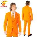 派手 スーツ オッポスーツ オレンジ 橙 衣装 大人用 ハロウィン パーティー イベント 出し物 芸人 舞台 ジョーク 目立…
