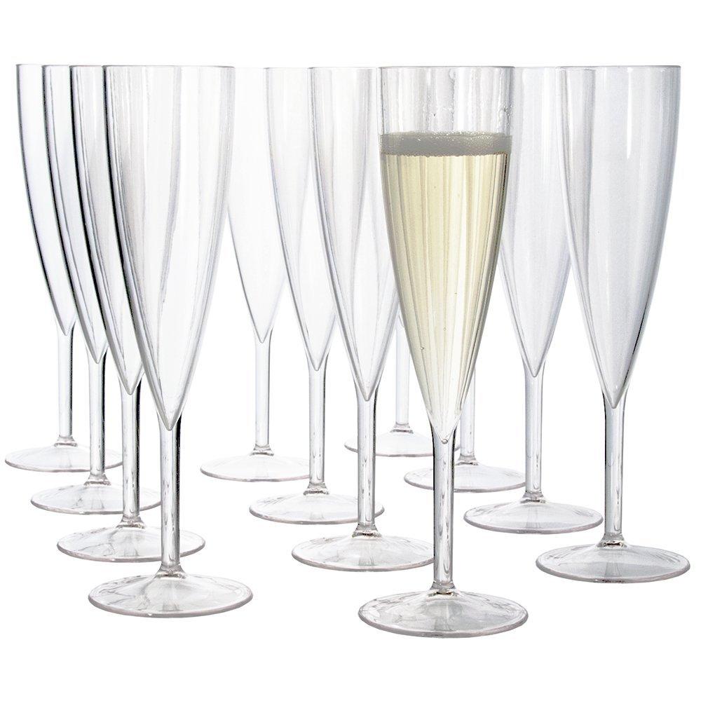 US Acrylic プラスチック シャンパングラス フルートグラス 12本 セット バー用品 あす楽