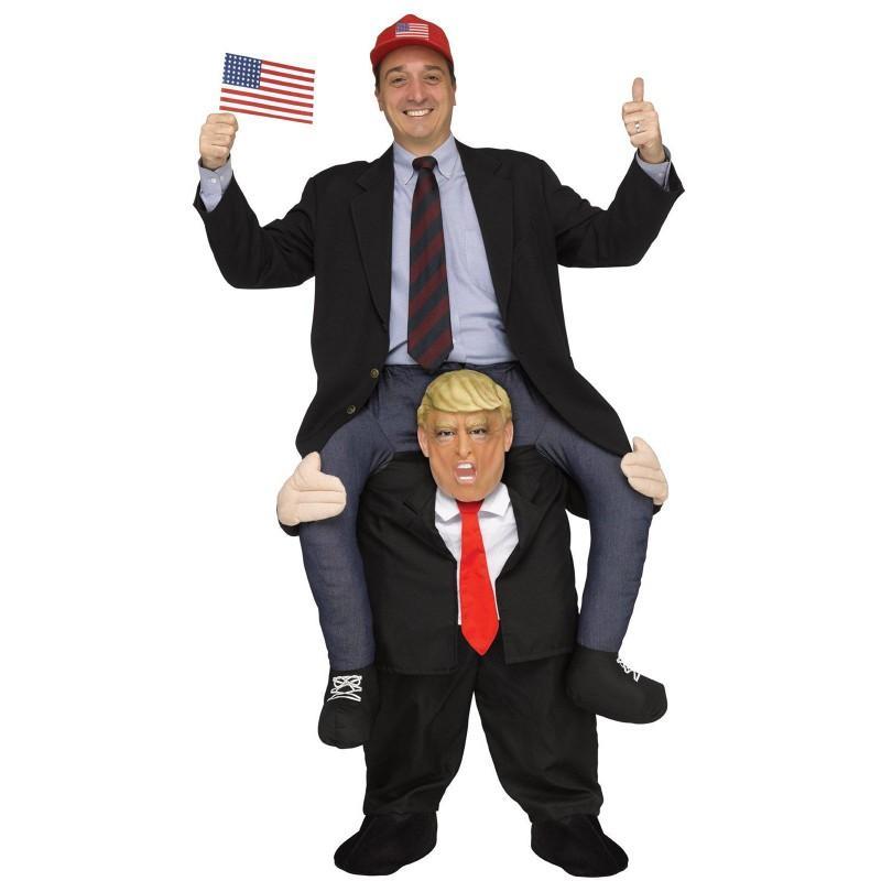 ハロウィン おもしろコスプレ ドナルドトランプ 肩車 着ぐるみ コスチューム 仮装 アメリカ 大統領 政治家 グッズ あす楽