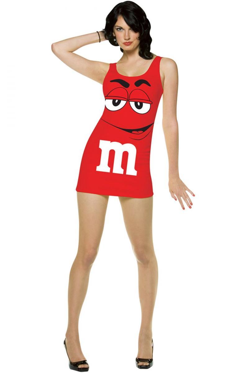 M&M'S エムアンドエムズ コスチューム タンクトップ ワンピース ドレス ミニ 赤 レディース セクシー コスプレ 仮装 食べ物 チョコレ