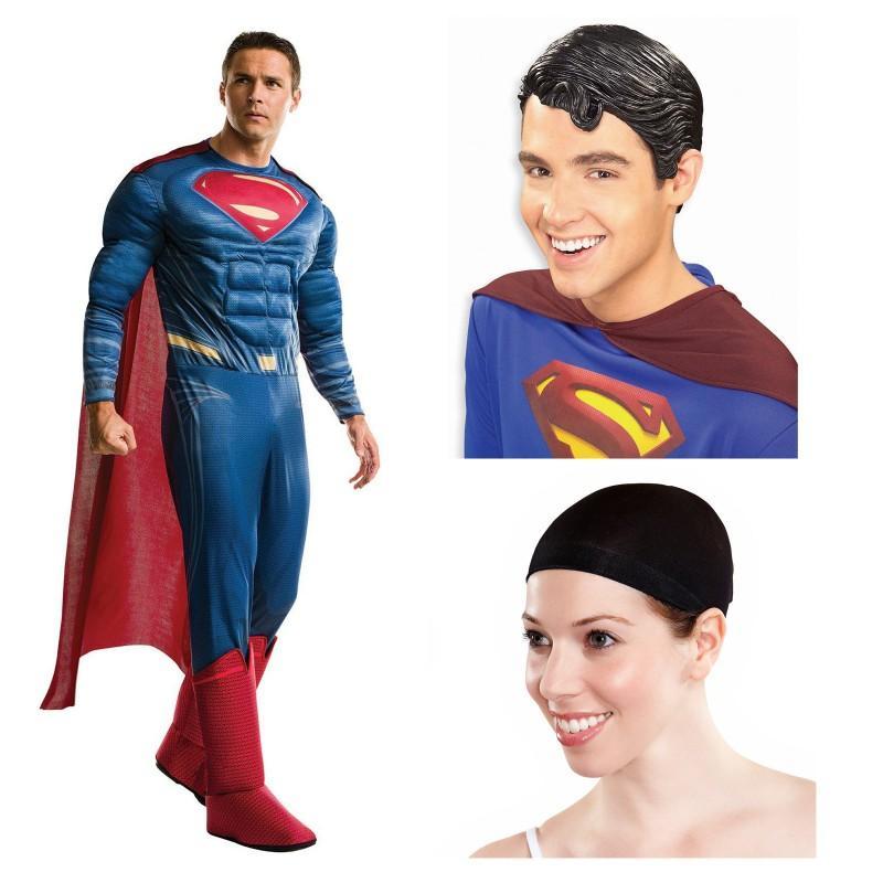 ジャスティス・リーグ スーパーマン コスチューム かつら セット ハロウィン コスプレ 衣装 仮装 大人 メンズ