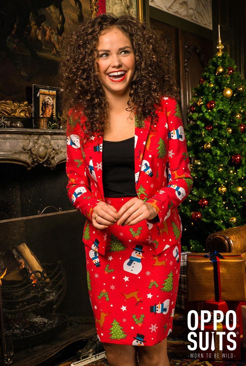 Opposuits オッポスーツ 女性 レディース CHRISTMISS 赤 総柄 クリスマス パーティ 衣装 コスプレ 仮装 コスチューム ファンシースーツ