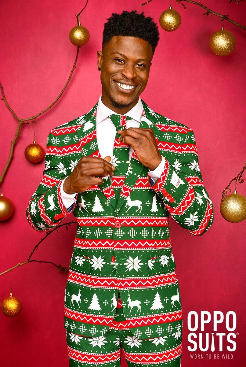 Opposuits オッポスーツ 男性 メンズ FESTIVE GREEN 緑 クリスマス 総柄 パーティ 衣装 コスプレ 仮装 コスチューム ファンシースーツ