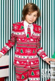 Opposuits オッポスーツ 子供 中学生 男の子 WINTER WONDERLAND 赤 クリスマス 総柄 パーティ 衣装 コスプレ 仮装 コスチューム ファンシースーツ