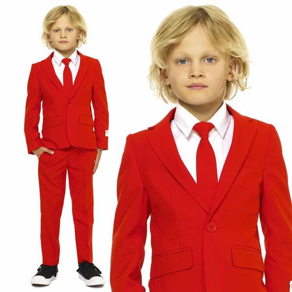 Opposuits オッポスーツ 子供 小学生 男の子 RED DEVIL 赤 クリスマス 無地 パーティ 衣装 コスプレ 仮装 コスチューム ファンシースーツ