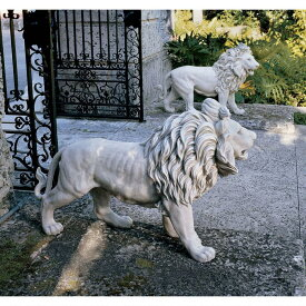 動物 ライオン 2匹 セット 玄関 ゲート アート 彫刻 ホーム インテリア エクステリア 屋外 庭 ガーデン 飾り 石像 オブジェ