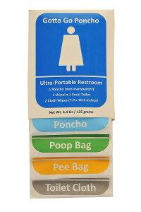 Gotta Go Poncho 簡易 ポータブル 携帯 トイレ 男性 女性 ユニセックス 車内 野外 防災 緊急 旅行 便利 グッズ