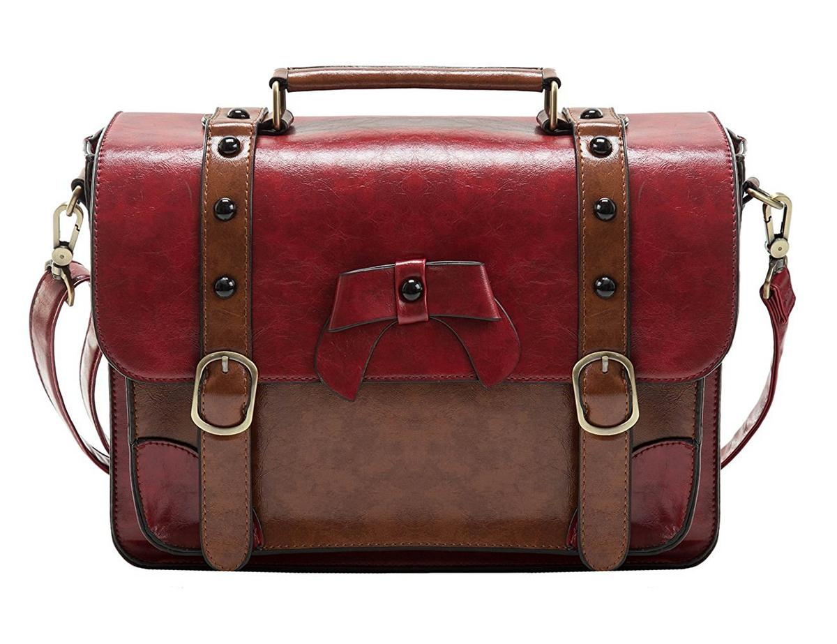 サッチェルバッグ クロスボディバッグ メッセンジャーバッグ ECOSUSI ビンテージ 赤 レディース ショルダーバッグ かばん