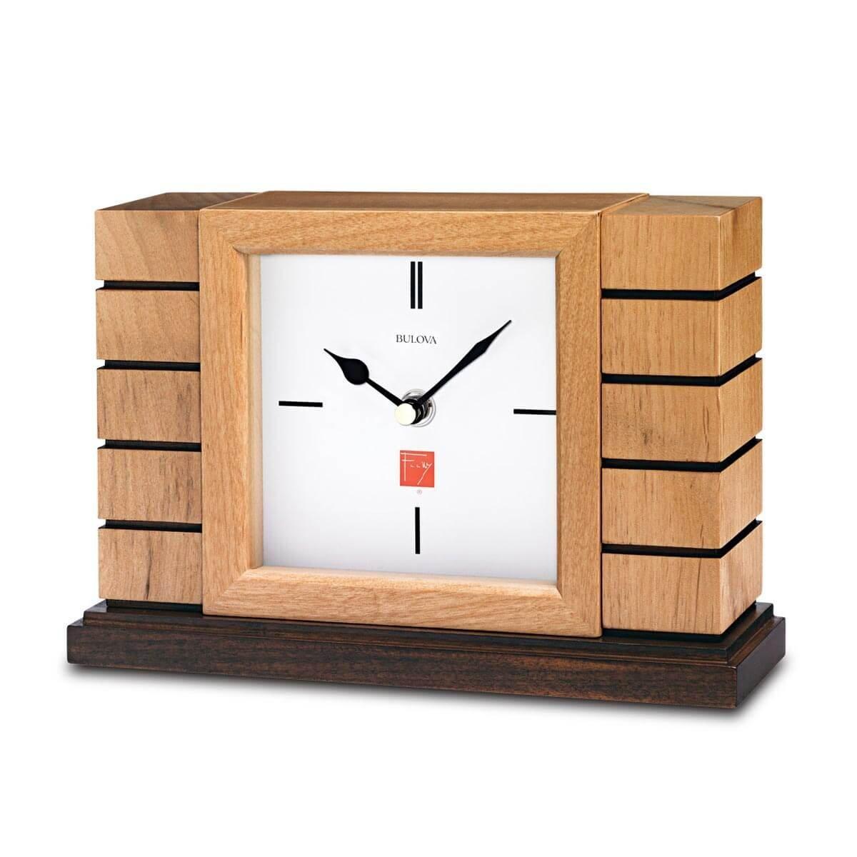 ブローバ Bulova 置時計 フランクロイドライト Frank Lloyd Wright Usonian II 静音 秒針 しない 静か 時計